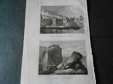 1837 INCISIONE AUDOT MALTA MALTE LA VALLETTA II-BELT SBARCO E PIERRE DU GENERAL