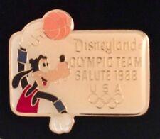 Disney Pin~Disneyland~Olympic Seoul~SALUTE 1988~Goofy~Basketball~USA 5 rings