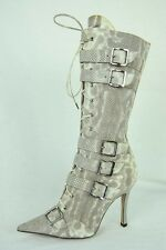 CHRISTIAN DIOR Womens Snakeskin Leather High Heel Lace-Up Buckle Boot 6.5-36.5