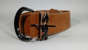 Patricia Green Details Tan Wide Women's Belt Medium Buckle Made In Spain