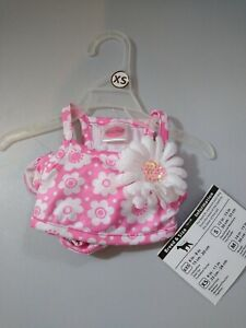 Lulu Pink Dog Outfit XS Pink and White Bikini New  Floral Design Beach Ready