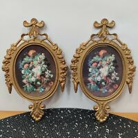 Set of 2 Vintage Small Oval Picture Frames Floral Victorian/Made in Italy