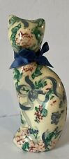 Decoupage Vintage Sitting Cat Figurine Tabletop Decor Floral With Blue Bow