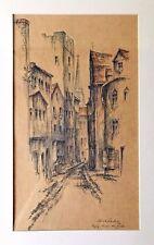 Kurt Schuldt (1920-1979): Kolorierte Federzeichnung: Regensburg-Hinter der Grieb