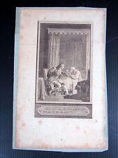 Gravure cuivre XVIII° SCENE GALANTE signée Delvaux Rémi Henri Joseph datée 1787