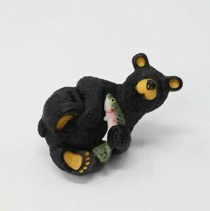 """Bearfoots """"Fuzz"""" With Fish Salmon Montana Artist Jeff Fleming Black Bear"""