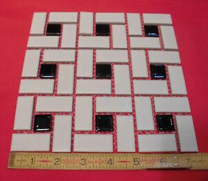 Vintgage Pinwheel Floor Tiles *Matte White + Black Glossy Dots*  Classic Design