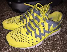 Nike Men's Size 9 Free Trainer Weave Woven Yellow Volt/Gray Running Shoes GREAT!
