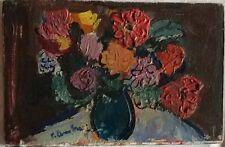 Pierre Ambrogiani - Huile sur carton Bouquet de fleurs