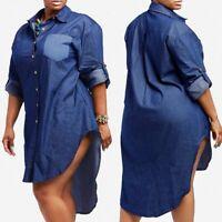 UK 8-24 Women V Neck Denim Look Asymmetric Hem Baggy Tops Shirt Dress Plus Size