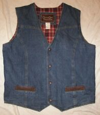 Men's Cripple Creek Ranchwear Denim Vest - L - Plaid Lining