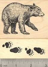 2 Piece Black Bear and Tracks Rubber Stamp Set