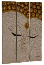 Buddha Wandrelief Wandbild 3-tlg. massiv Holz Chinesische Möbel Asien 92x60 WG