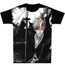 Clothing Short Sleeve Otaku Black Men's Anime BLEACH Unisex T-Shirt Tops #Y22