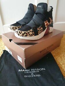 New Women's Size UK 8 Mark Nason X Skechers Cheetah Print & Black Trainers
