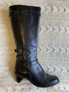 Dr Martens size 42 / 10 Amber Black Leather Calf High heeled boot rubber sole ro