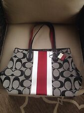 Coach Signature Stripe 19999 Hamptons Weekend Tote in Black White Cherry Red