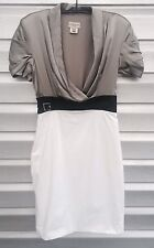 KAREN MILLEN Silver Wrap Silk Classic White Sheath Dress