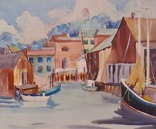 Boat Watercolor Painting Signed J Nolan Art Home Decor Vintage 01611