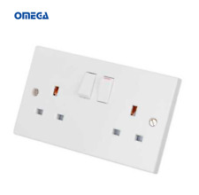 10 x Omega13A 2 Gang Double Switched Socket White - OMFL213SS