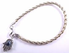 Hamsa Gold Leather Bracelet Evil Eye Kabbalah Hand Of Fatima Amulet Charm Silver
