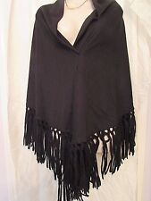 Vintage Black Acrylic Shawl with Yarn Fringe Made in Japan 76""