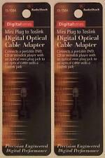 Toslink Female Jack to Male Mini Plug Fiber Optic Adapter ~Lot of 2~ RadioShack