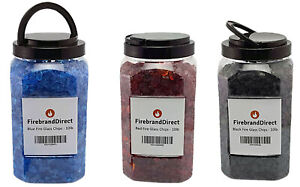 Black/Blue/Red Fire Glass 4.5kg Fire Pit Gas Fires/Ethanol Burn Tempered Glass