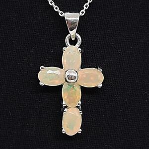World Class 2.60ctw Opal 925 Sterling Silver Cross Pendant
