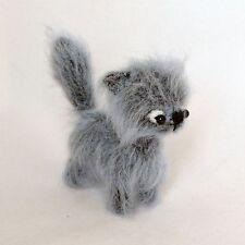 Handmade crochet artist miniature gray cat, 4 1/3in.
