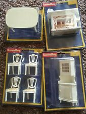 Vintage Lundby Dollhouse Fireplace with dining set and corner cabinet