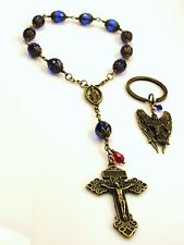 St.Michael the Archangel Blue Crystal Bronze Rosary/Bracelet/Chaplet & Key ring.