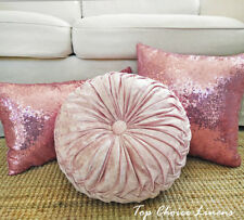 Home Decorative Lovely Pink Tones Filled Pillow / Sequin Cushion Cover