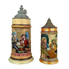 Pair 2 Antique German Steins Three Men Drinking Beer on Barrel Grutzner Painting
