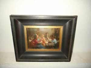 Antique oil painting, { Charles Theunissen 1871 - 1948, Elders with children }.