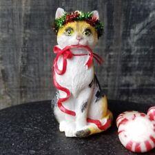 Cast Resin Calico Cat Christmas Ornament