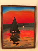 Framed Signed Oil Painting Sailboat Seascape Sunset