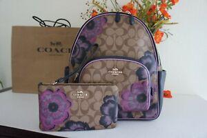NWT Coach 5674 & 6285 Court Backpack & Wristlet Signature Canvas Kaffe Fassett