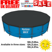 More details for bestway flowclear swimming pool cover for steel pro max round pools 10/12/15 ft