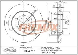 Disc Brake Rotor-RWD Front Fremax BD4099