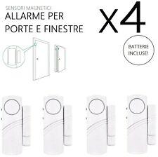 Sensore Allarme Finestre Porte Magnetico Kit da 4 Antifurto Bianco Wireless Casa