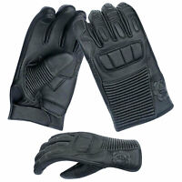 Deer Skin Leather Motorbike I Touch with Rubber Knuckle Protection Gloves 9018