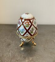 """Porcelain Footed Floral Egg Trinket Box with Hinged Lid Gold Trim 3 3/4"""" Tall"""