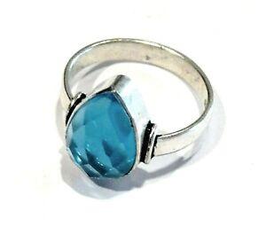 Bijou argent 925 bague pierre topaze bleue taille briolette taille 58 ring