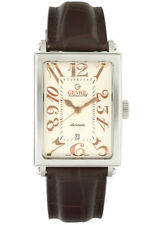 Gevril Men's 5005A Avenue of Americas Automatic Rose-Gold IP Leather Date Watch