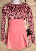 GK ICE SKATE LgSLV GIRLS SMALL PINK VELVET FOIL FLORAL PRINT DRESS Sz CS NWT!