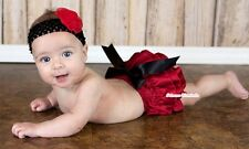 Infant Newborn Baby Hot Red Satin Bloomer Pantie with Bow For Pettiskirt 6m-3Y
