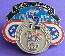 NAGANO 1998 Olympic Collectible Logo Pin - Silver Medal Women's Speedskating
