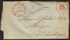 US 1847 RICHMOND VA 5 PAID IN RED ON FOLDED LTR TO PETERSBURG REPAIRED FOLDS SEE