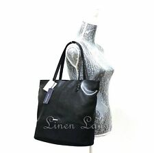 REBECCA MINKOFF Mansfield Tote BLACK Purse Soft LEATHER Canvas Large NWT $345